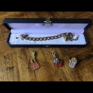 Gold Juicy Couture Toggle Bracelet with 3 charms